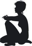 Silhouette of the girl. Silhouette of the beauty sitting girl Stock Photo