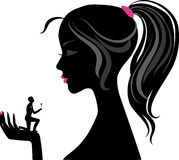 Silhouette of girl. Silhouette of girl, holding on the exposed hand miniature man with rose Stock Image
