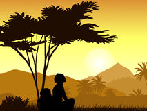 A silhouette of the girl against the backdrop of tropical mountains. Sunset in the tropical mountains with a silhouette of the girl. Vector illustration Stock Photo
