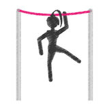 Silhouette girl athlete gymnastic with bar Royalty Free Stock Photo