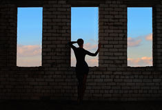 Silhouette of girl on the background of t Royalty Free Stock Images
