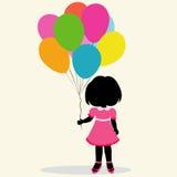 Silhouette girl with balloons Stock Photos