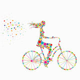 Silhouette of a girl on a bicycle Stock Images