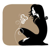 Silhouette girl in black with flowers. Vector illustration of a silhouette a sitting girl with flowers Royalty Free Stock Photos