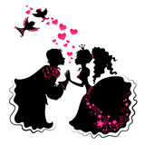Silhouette of girl and boy with birds Royalty Free Stock Photography
