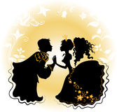 Silhouette of girl and boy on flower background. Silhouette of loved girl and boy on flower background with golden elements vector illustration