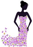 Silhouette of a girl in a flying apart dress. Silhouette of a girl in a butterfly dress flying apart. EPS8 Stock Images