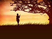 Silhouette of a girl with a butterfly and tree Royalty Free Stock Photography