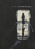 Silhouette of a girl on a corridor Stock Images
