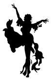 Silhouette girl dancing Royalty Free Stock Photography