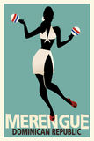 Silhouette of girl dancing merengue with maracas. Royalty Free Stock Photo