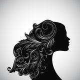 Silhouette of a girl with decorated hairs Stock Photography
