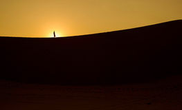 A silhouette of a girl on a desert sandune at sunrise Stock Photography
