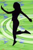 Silhouette of Girl with Digital Music Player. Silhouette over abstract background of teen girl with digital music player jumping Royalty Free Stock Photography