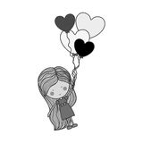Silhouette girl dragged by heart-shaped balloons Royalty Free Stock Photography