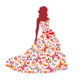 Silhouette of a girl in a dress Stock Photo