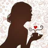 Silhouette of a girl drinking coffee. With scribble background Royalty Free Stock Photography