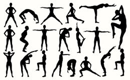 Silhouette of the girl engaged in fitness. Stock Image