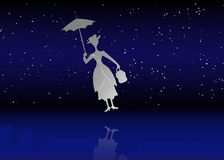 Free Silhouette Girl Floats With Umbrella In His Hand, Mary Poppins Style, Vector Illustration Stock Photo - 132166850