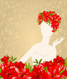 Silhouette of girl with flowers Royalty Free Stock Photos
