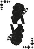 Silhouette of girl in a form of card Stock Images