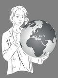 Silhouette girl with globe Royalty Free Stock Image