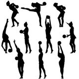Silhouette girl gymnast with the ball. Vector illustration Royalty Free Stock Photos