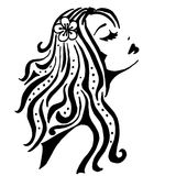 Silhouette of a girl. High quality original trendy vector Silhouette of a girl Royalty Free Stock Photography