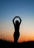 Silhouette of girl jumping in field Stock Photos