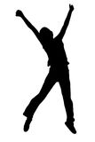 Silhouette of a girl jumping Stock Photography