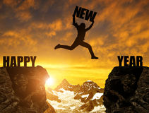 Silhouette girl jumps to the New Year Royalty Free Stock Photos