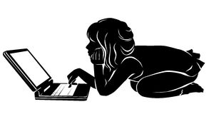 Silhouette girl with laptop Royalty Free Stock Photography