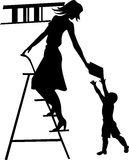 Silhouette of a girl librarian,. The book of the child royalty free illustration