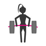 Silhouette girl lifting barbell fitness gym Stock Image