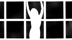 Silhouette of girl with long waving hair in profil on white background with grid window. Slow motion. stock video footage