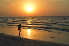 Silhouette of a girl. Lying on the beach United Arab Emirates Royalty Free Stock Photo