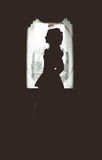 Silhouette of a girl. In a magnificent aristocratic dress on a background of a window Stock Photo