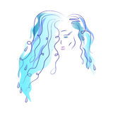 Silhouette of a girl. Multi Colored graphics. Beautiful young girl with blue hair. Abstract image. Element of water. Sketch. Stock Images