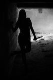Silhouette girl. Silhouette of a girl in old factory stock photography