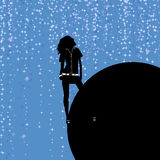 Silhouette of the girl of one against the background of the globe. Vector illustration Stock Image