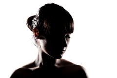 Silhouette girl portrait Stock Image