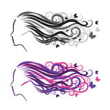 Silhouette of a girl in profile. Logo for beauty salons Royalty Free Stock Image