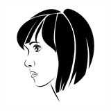 Silhouette girl in profile - vector illustration Stock Photography