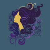 Silhouette of a girl in profile3. Abstract colorful illustration of a girl silhouette Stock Photo