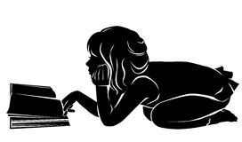 Silhouette girl reading book Royalty Free Stock Image
