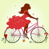 Silhouette of a girl in a red dress on a Bicycle. A young girl in a red dress rides a Bicycle. Vector illustration. Square location Stock Photography