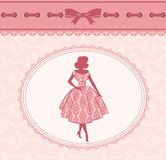 Silhouette of girl on retro background. Royalty Free Stock Images