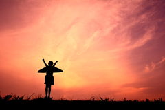 Silhouette girl with rocket Royalty Free Stock Images
