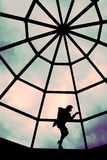 Silhouette girl on a roof royalty free stock photos