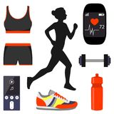 Silhouette of a girl running and Jogging attributes. Smart watch, a sports bra and shorts, bottle, sneakers, dumbbell. Silhouette of a girl running and Jogging Stock Photography